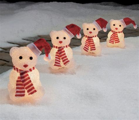 holiday time 4 piece vintage snowman pathway christmas lighted lawn stakes set part 9