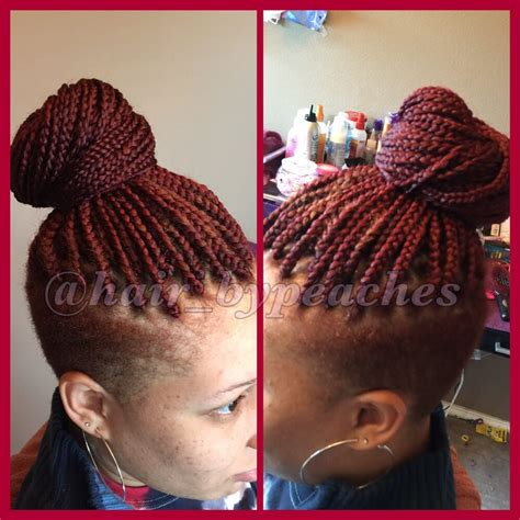 shaved back of hair wuth braids in a bun mid back length box braids with shaved sides yelp