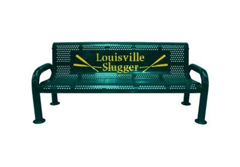 personalized bench 8 custom two color perforated u leg bench commercial