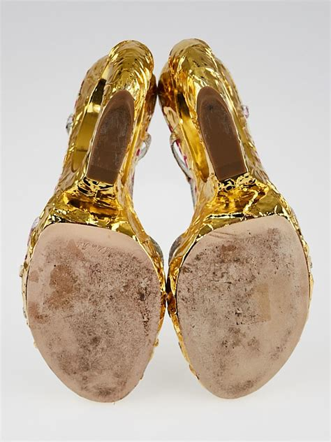 Louis Vuittons Feerique T Sandals Shoes With Gold Plated Heels by Louis Vuitton Metallic Floral Strappy Sandals Gold Wedge