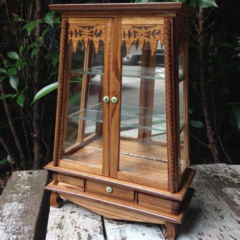 Handmade Cupboards - small vintage teak wood cabinet craft handmade carved thai