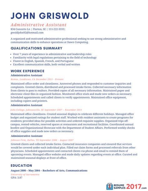 administrative assistant resume sample resume samples