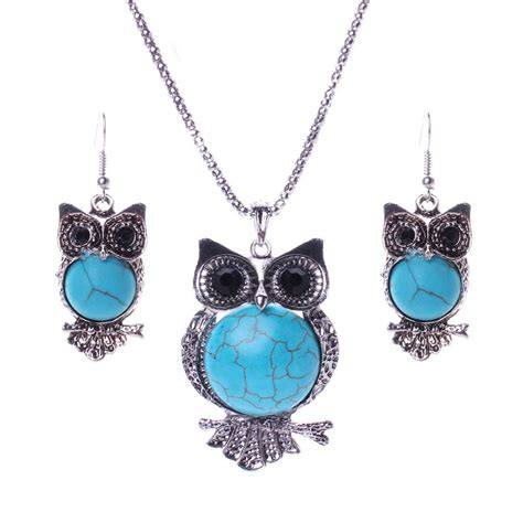 aliexpress necklace aliexpress com buy turquoise jewelry set owl design