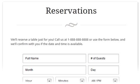 restaurant reservation form template eatery restaurant theme best themes 2015
