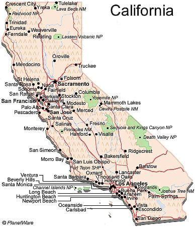 california us map california map