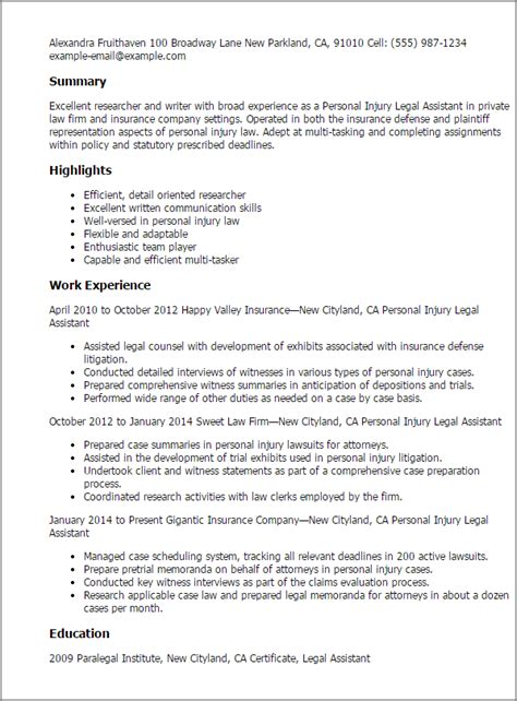 resume templates personal injury assistant summary