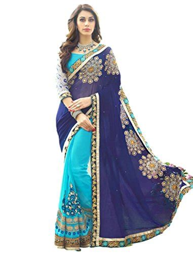 saree sari designer indian dress ethnic traditional free size blue buy