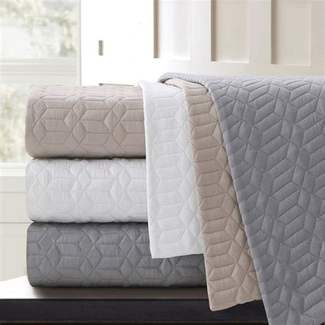 Cotton Quilted Blankets by Echelon Home Echelon Laguna Quilted Cotton Coverlet