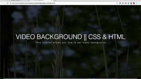 tutorial css background how to set video background using pure css and html youtube