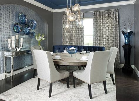Modern Dining Room Rugs Contemporary Dining Room With A Splash Of Blue Gray And A Light Colored Rug Decoist