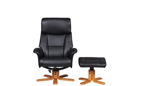 Leather Swivel Chair And Stool by Corsa Swivel Recliner Chair And Stool In Black Faux