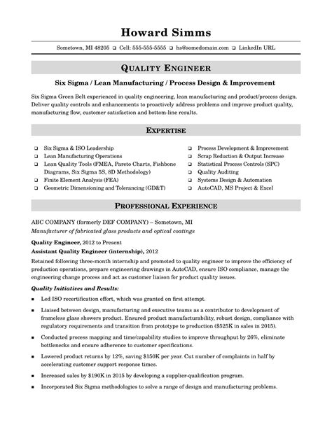 Resume Template Quality by Sle Resume For A Midlevel Quality Engineer