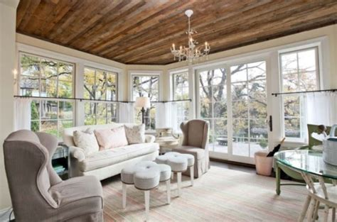 Sunroom Living Room Stylish Decors Featuring Warm Rustic Beautiful Wood Ceilings
