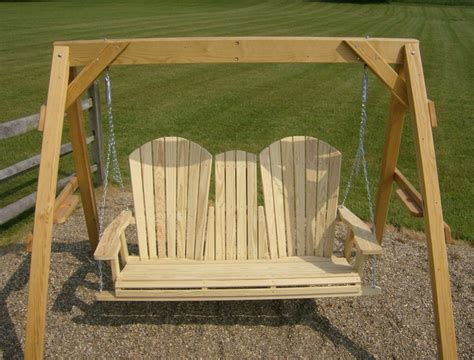 jake s amish furniture 5 adirondack swing with fold down cup holder in the middle