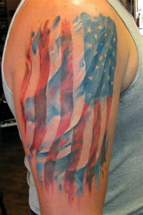 american flag shoulder tattoos american flag watercolor tattoos