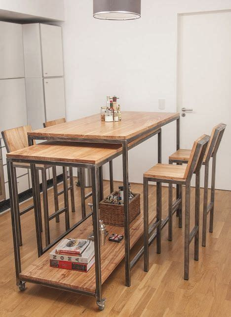 mesa comedor cocina restaurante metal madera bancos depa