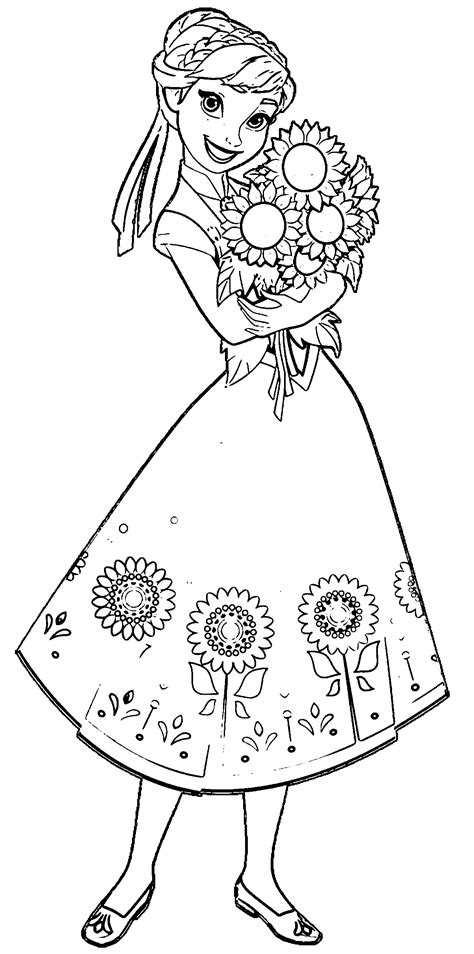frozen spring coloring pages fever anna sunflowers coloring page wecoloringpage