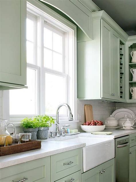 Green Painted Kitchen Cabinets Pictures Sea Foam Green Painted Cabinets White Subway Tile Backsplash Marble Countertops What