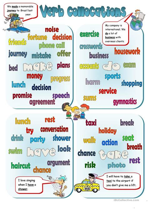 verb pattern after collective nouns collocations make do have take worksheet free esl