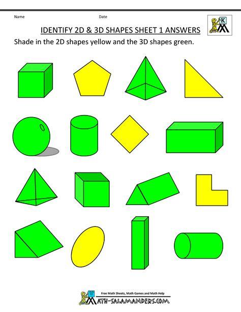 2d And 3d Shapes Worksheet by 3d Shapes Worksheets