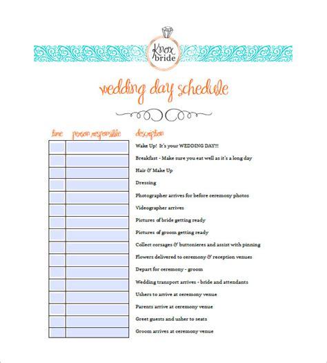 wedding agenda templates  sample  format