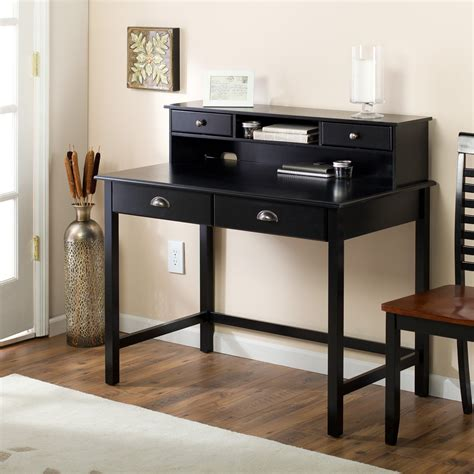 black writing desk with hutch valona black writing desk with optional hutch at hayneedle