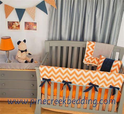 Crib Bite Guards by Teddy Theme Nursery With Orange Chevron And Grey