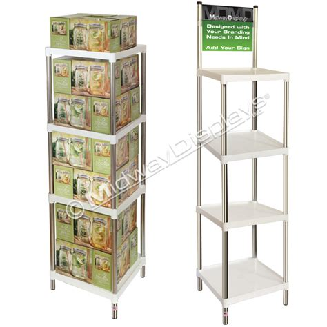 9 Square Shelf by Plastic Stackable Square Tray Floor Stand In Stock