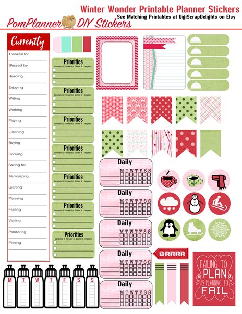 planner printable freebies winter planner kits and free planner stickers