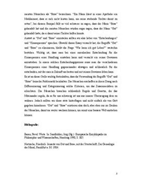 Essay Beispiel Englisch by Essay Gibt Es Die Werte Gut Und B 246 Se Schulhilfe De