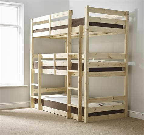 3 bunk beds triad 3ft single 3 tier heavy duty solid pine high triple