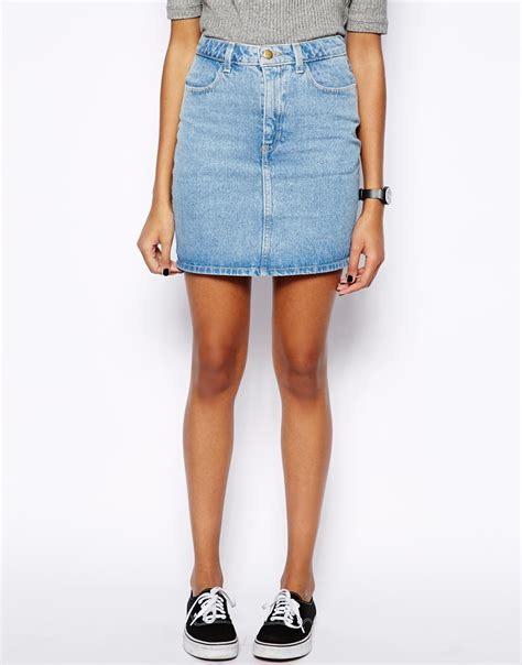 american apparel high waist denim skirt in blue lyst
