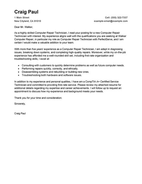 cover letter for computer technician cover letter exle cover letter exle for technology