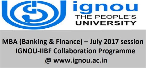 Mba In Banking Syllabus by Ignou Released Ignou Iibf Collaboration Programme
