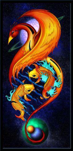 phoenix koi tattoo phoenix and koi tattoo by phienixfire deviantart com on