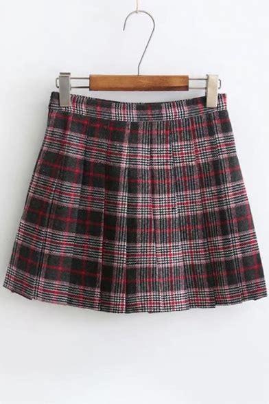 Plaid Mini A Line Skirt stylish tartan plaids pattern mid waist pleated mini a