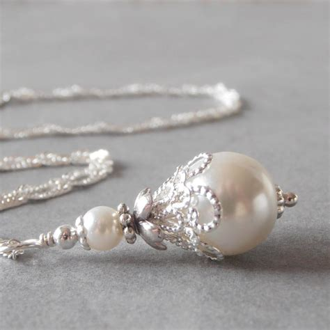 Handmade Pearl Necklaces - white pearl necklace beaded pendant white bridal jewelry