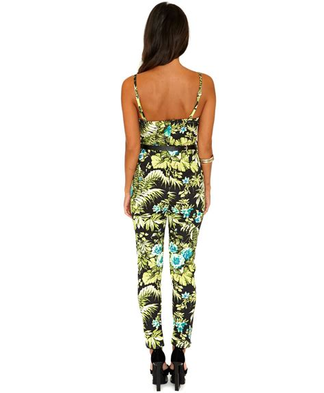 Tropical Print Jumpsuit missguided alandria tropical print jumpsuit in multicolor