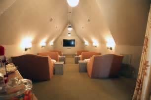 attic movie room cottage media room urban grace interiors