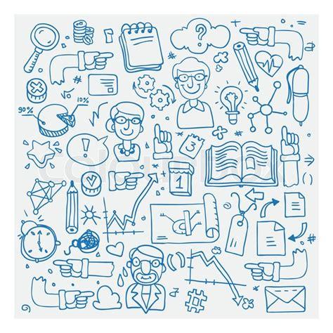 doodle website vector illustration icons set of business
