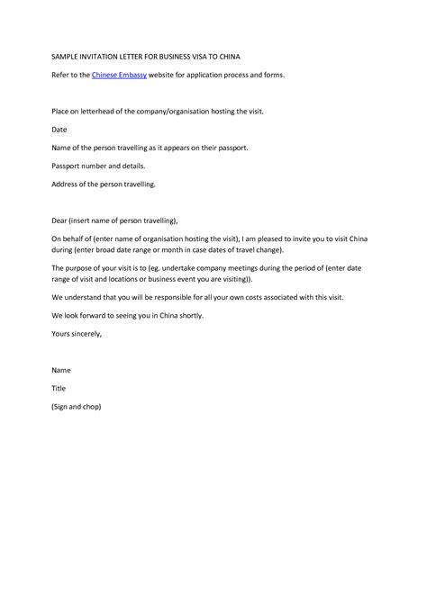 business visa invitation letter sample places  visit