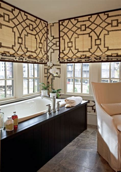 Modern Interior Bathroom Window Treatments | fretwork window treatments contemporary bathroom