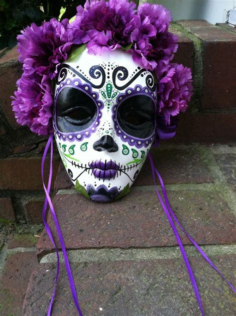day of the dead painted decorative mask dia de los muertos sugar skull purple flowers