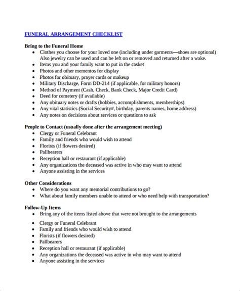 28 funeral planner template funeral planning