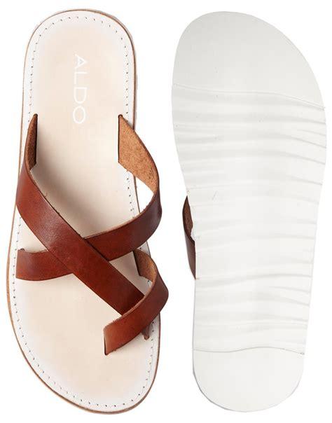 aldo sandals mens lyst aldo lobenc sandals in brown for