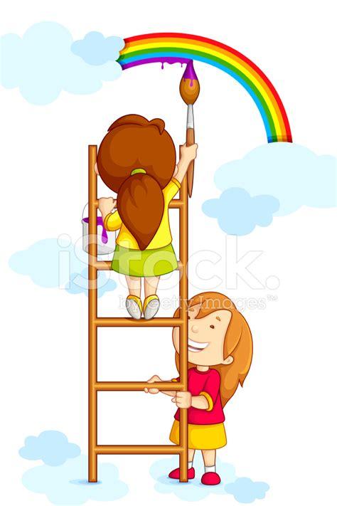 clipart arcobaleno bambini arcobaleno di pittura stock vector freeimages