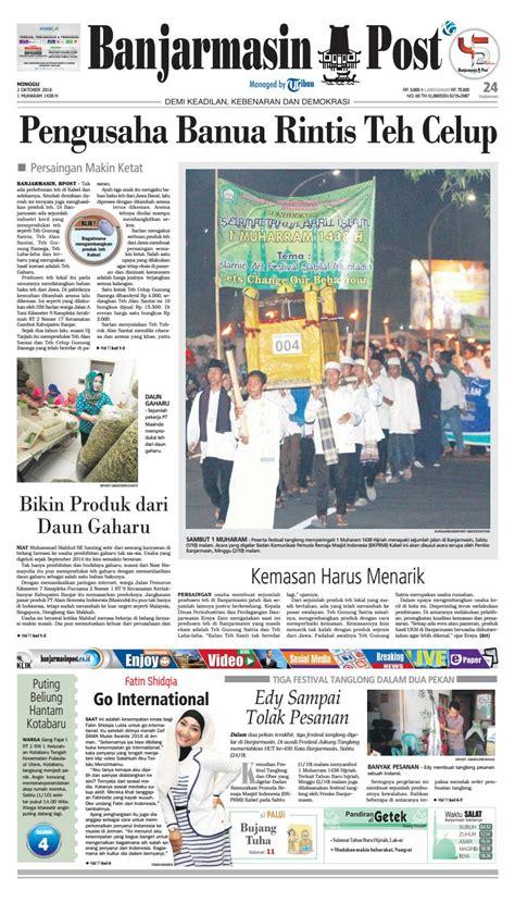 Teh Gunung Satria banjarmasin post minggu 2 oktober 2016 by banjarmasin post
