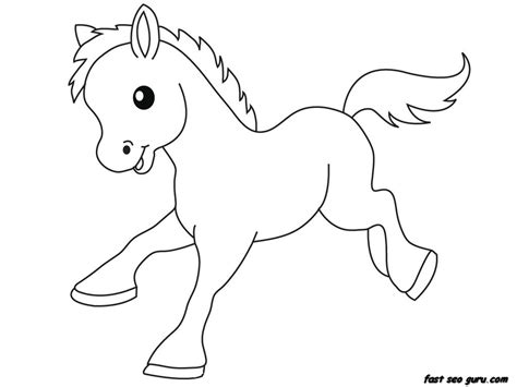 print out farm pony baby animals coloring pages