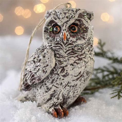 frosted resin owl ornament crows owls bats spiders