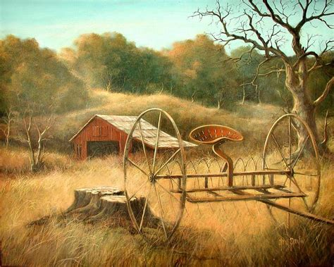 country farm paintings with barn barn and hay rake painting by gary partin